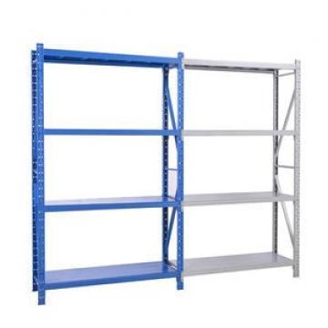 Functional supermarket shelf shop fitting wood and steel shelving for clothes and bag display